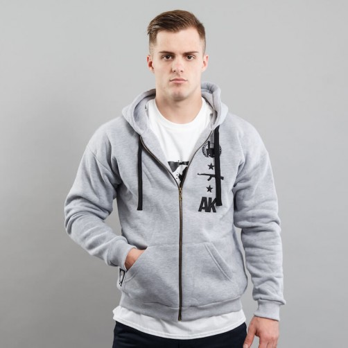 AK LOGO BACK, BE zip up hoodie, grey