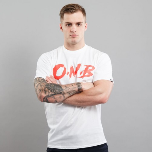 O.M.B. BRUSH tee, white/red