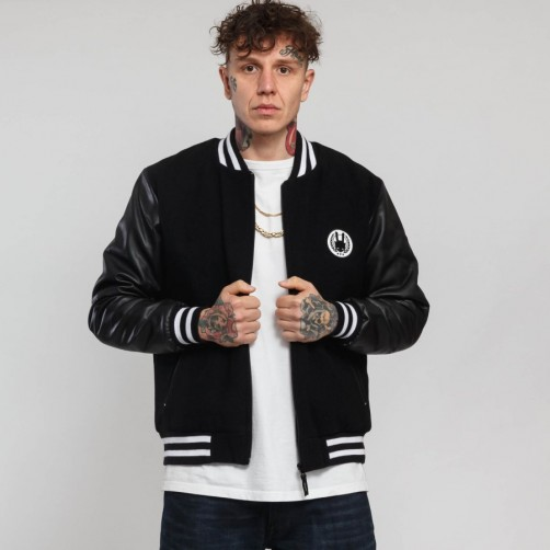 Bunda AK UNIVERSITY jacket, black/wht-grey