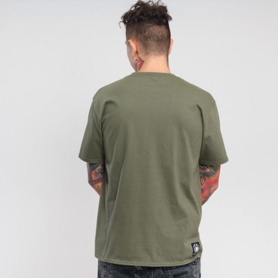 WHISKEY tee, military green/black