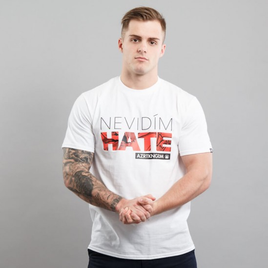 HATE ROSE tee, white/red-black